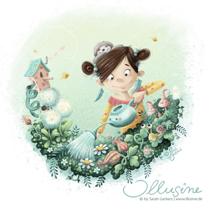 Maedchen gießt ihre balkonblumen, illustration