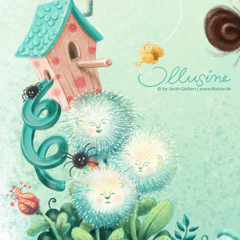 Detailansicht der Illustration, Elefummel, Pusteblumen mit Loewengesicht, Vogelhaus mit Spiralrutsche, Spinnen rutschen