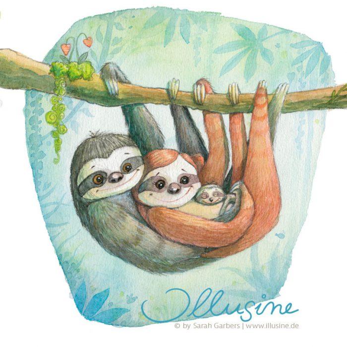FaultierPaar haengt am Ast und haelt Baby im Arm, Illustration