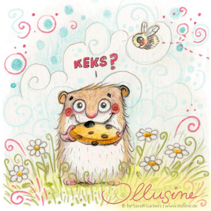 Illustration in Buntstift, Hamster bietet Keks in Blumenwiese an