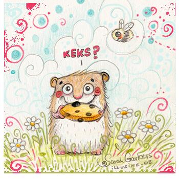 kleiner gezeichneter Hamster in Gaenseblumchenwiese bietet dir einen Schokokeks an