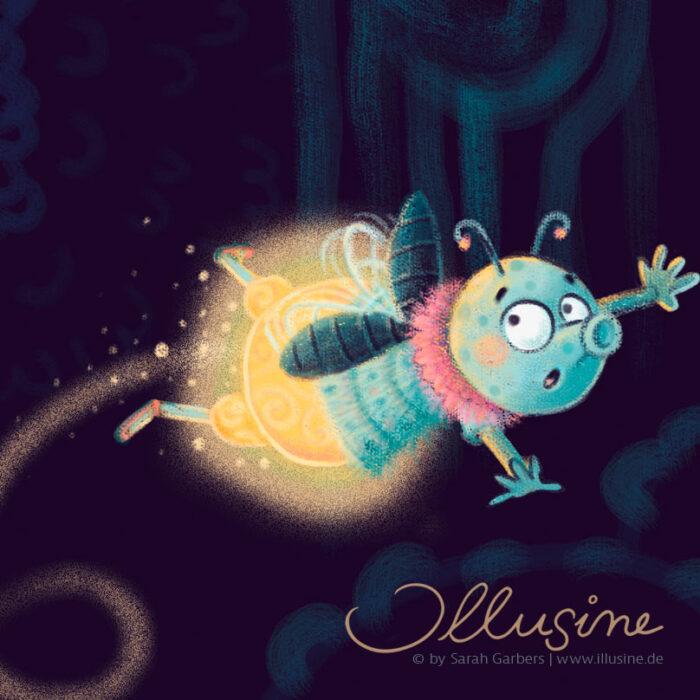 Munkelwald, Illustration für Kinderbuch, Lagerfeuerszene im Wald mit Tieren und Mädchen, Maus erzählt Gruselgeschichte