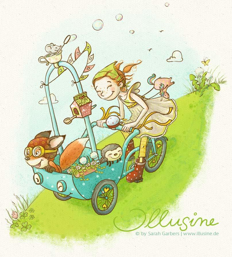 Maedchen saust froehlich mit Fuchs und Faultier einen grünen Hügel auf einem Lastenfahrrad hinunter