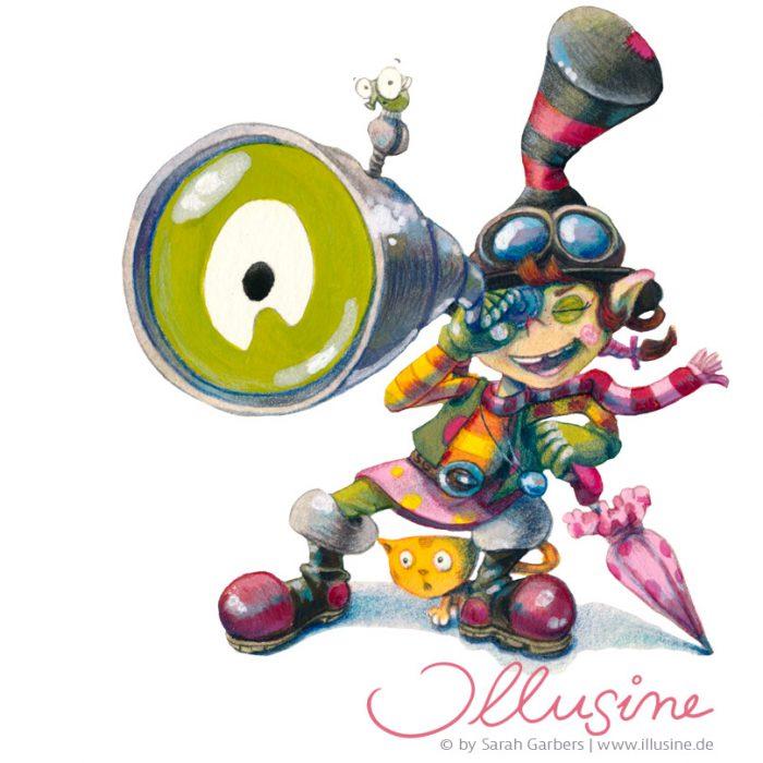 Illustration einer Piratenkoboldin die durch ein Fernrohr schaut. Kleidungsstil Steampunk.