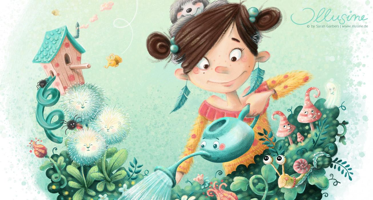 Kinderbuchillustration Maedchen giesst Blumen