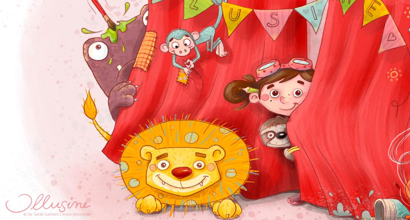 Kinderbuchillustration, Maedchen und Tiere lugen hinter einem roten Vorhang hervor