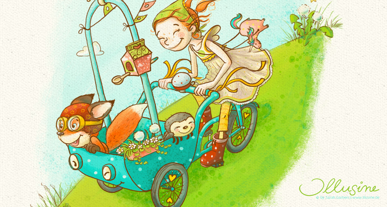 Kinderbuchillustration, Vignette, Maedchen saust mit einem Lastenfahrrad in dem ihre Tierfreunde sitzen, einen Hügel hinunter