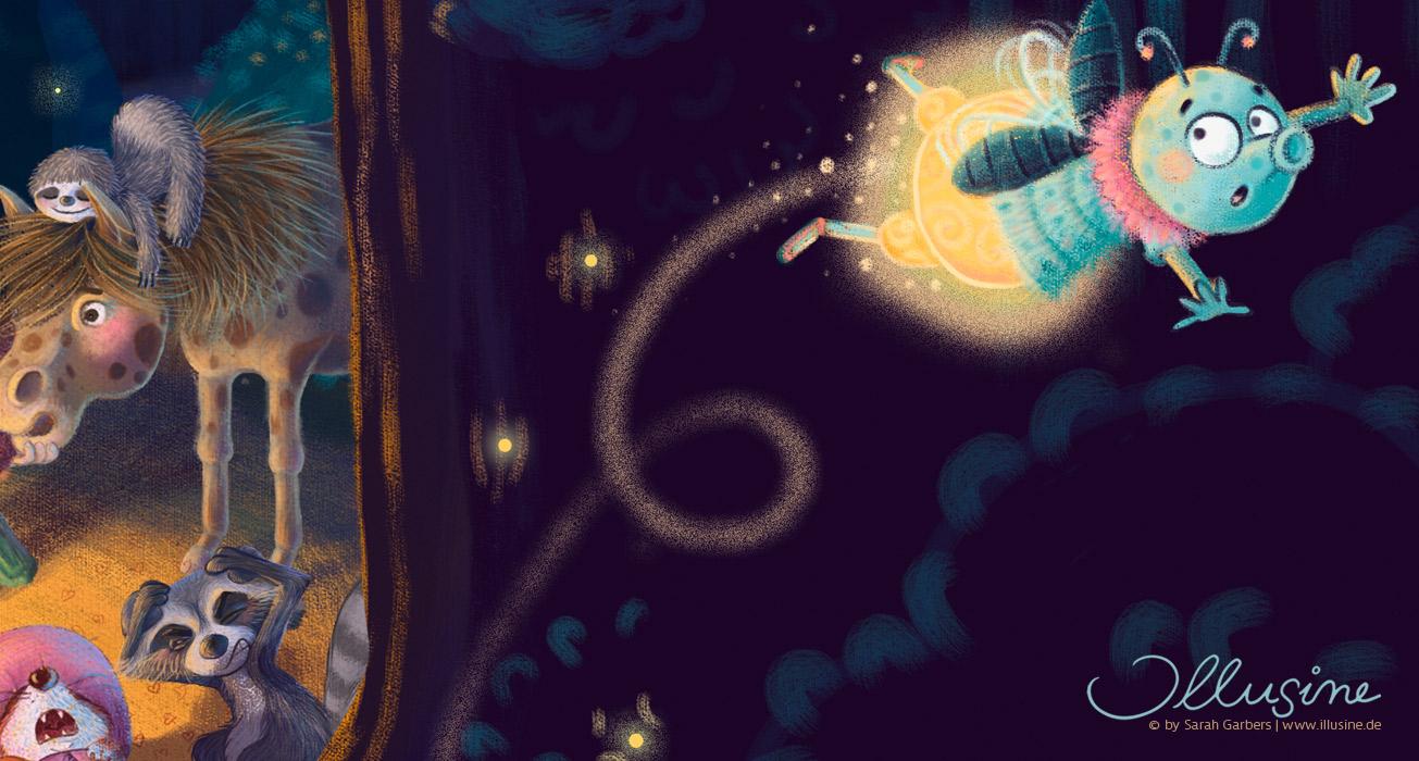 Kinderbuchillustration, Wald, Nacht Lagerfeuerszene, Tiere und Maedchen sitzen und Masu erzählt Gruselgeschichte, Gluehwuermchen fliegt erschreckt weg