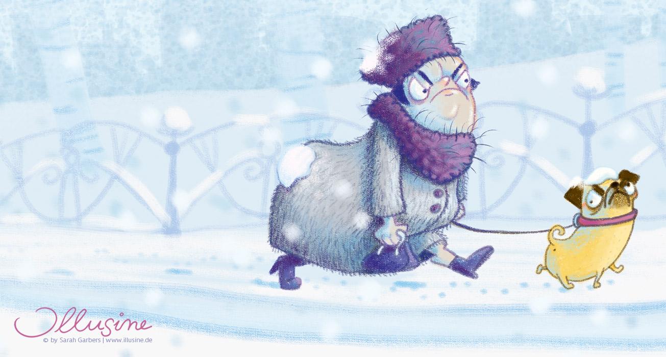 Kinderbuchillustration, Winter, beleidigte dicke Faru mit Mops