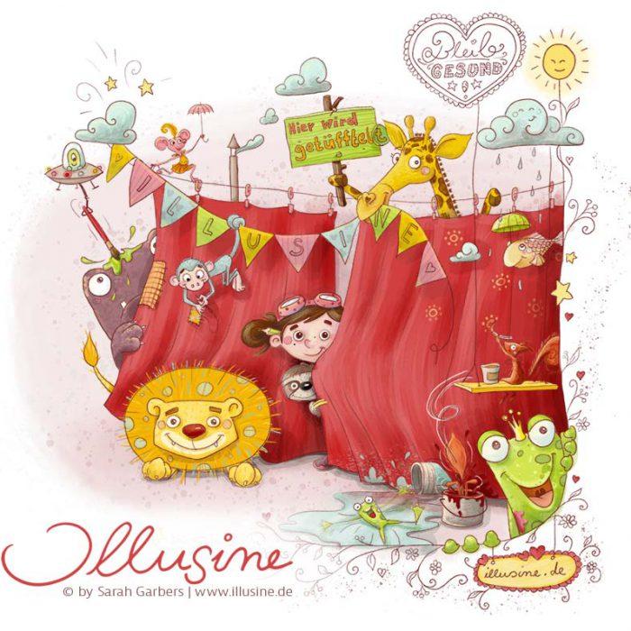 Zirkusatmosphaere, roter Vorhang, lustige Tiere und ein Mädchen lugen hervor und bergen ein Geheimnis