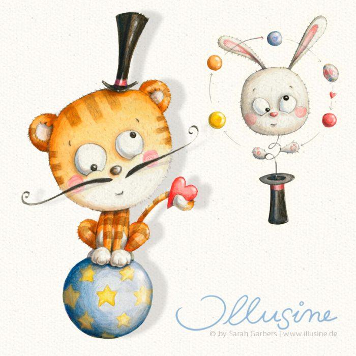 Zirkusfiguren in vertauschten Rollen, Tiger auf einme Ball mit Schnurrbart und Zylinder als Zirkusdrektor, schielender Hasenkop springt aus Zylinder und jongliert