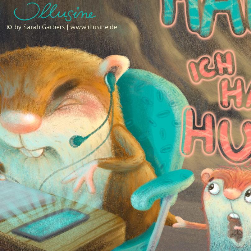 Hamster im Homeoffice, Kinder nerven und lassen den Hamster nicht in Ruhe arbeiten.