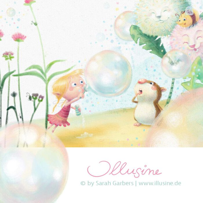 Seifenblasen,elfe,hamster, illustration, www.illusine.de, copyright sarah garbers