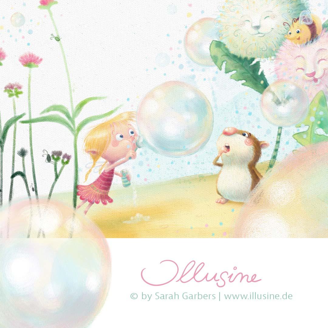 Seifenblasen,elfe,hamster, illustration, www.illusine.de, copyright sarah garbers