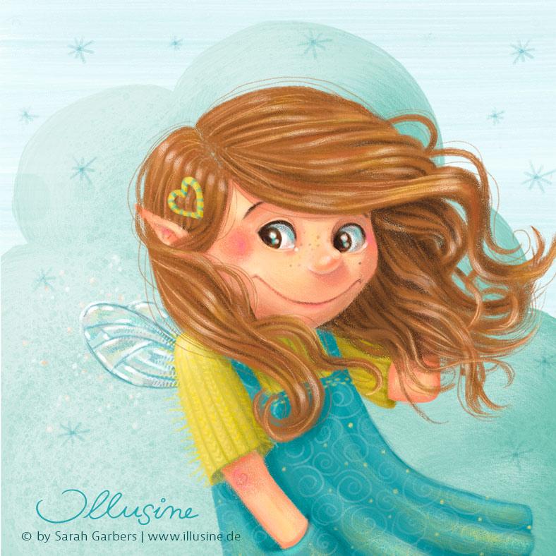 Illustration, Zeichnung, Kinderbuch, Illustratorin; Verlag, Maedchen, wehende Haare, Fee, Flügel, Kleid, Wolke, lächeln, wind, sterne, copyright sarah garbers 2020