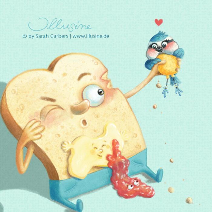 Illustration, Zeichnung, Kinderbuch, Illustratorin; Verlag, Blaumeise, Toast, Butter, Marmelade, Jeans, Herz, Liebe, Tweet, copyright sarah garbers 2020