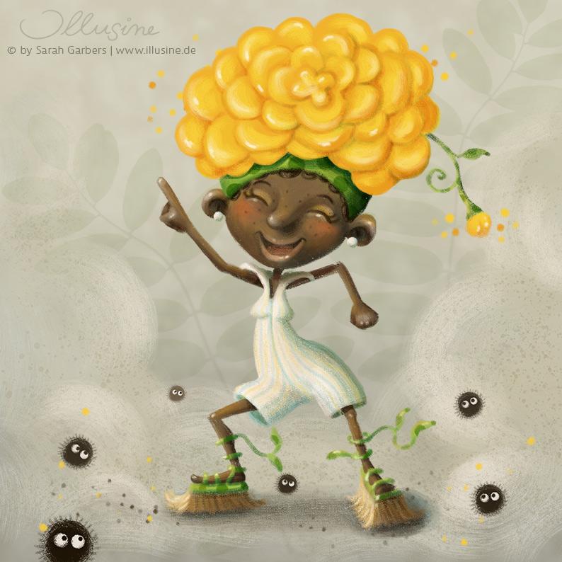 Eine Illustraion von einer farbigen, jungen Frau, die Besen an ihren grünen Rankensandalen traegt, im Stil von Saturday night fever tanzt, einen weißen Oncie mit Spitzkragen an hat und auf dem Kopf die Blüte einer gelben Blume als Frisur traegt.