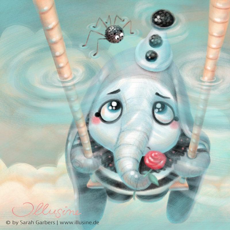 trauriger Dumbo, im ierrotkostüm auf Schaukel, eingeschlossen im Wasser