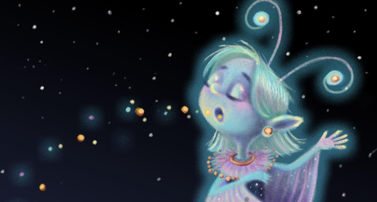 Nachtmottenelfe die mit ihrer magischen Stimme Samen zum wachsen bringt