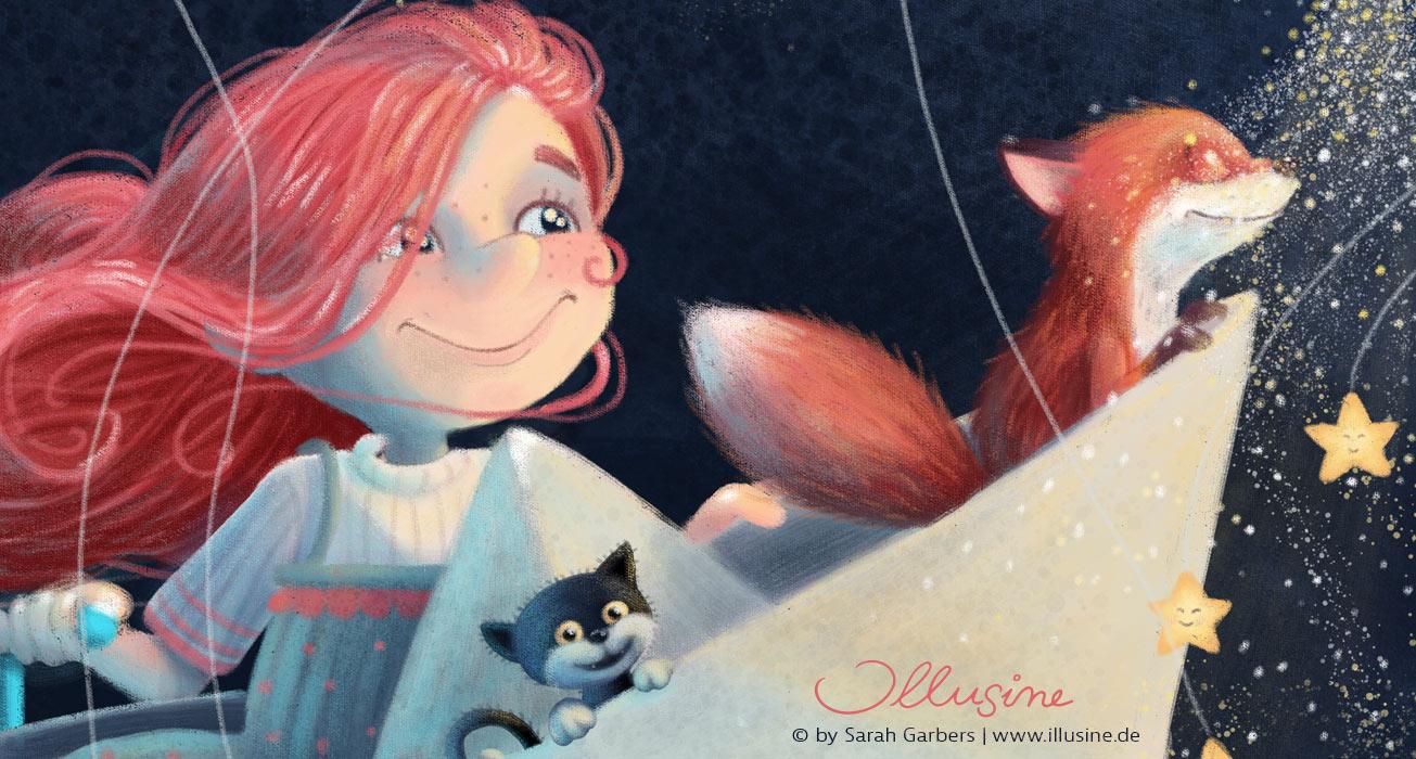 rothaariges Maedchen fliegt mit ihren Freunden Fuchs und Katze in einemPapierschiffchen über den Nachthimmel, getragen von Sternenstaub