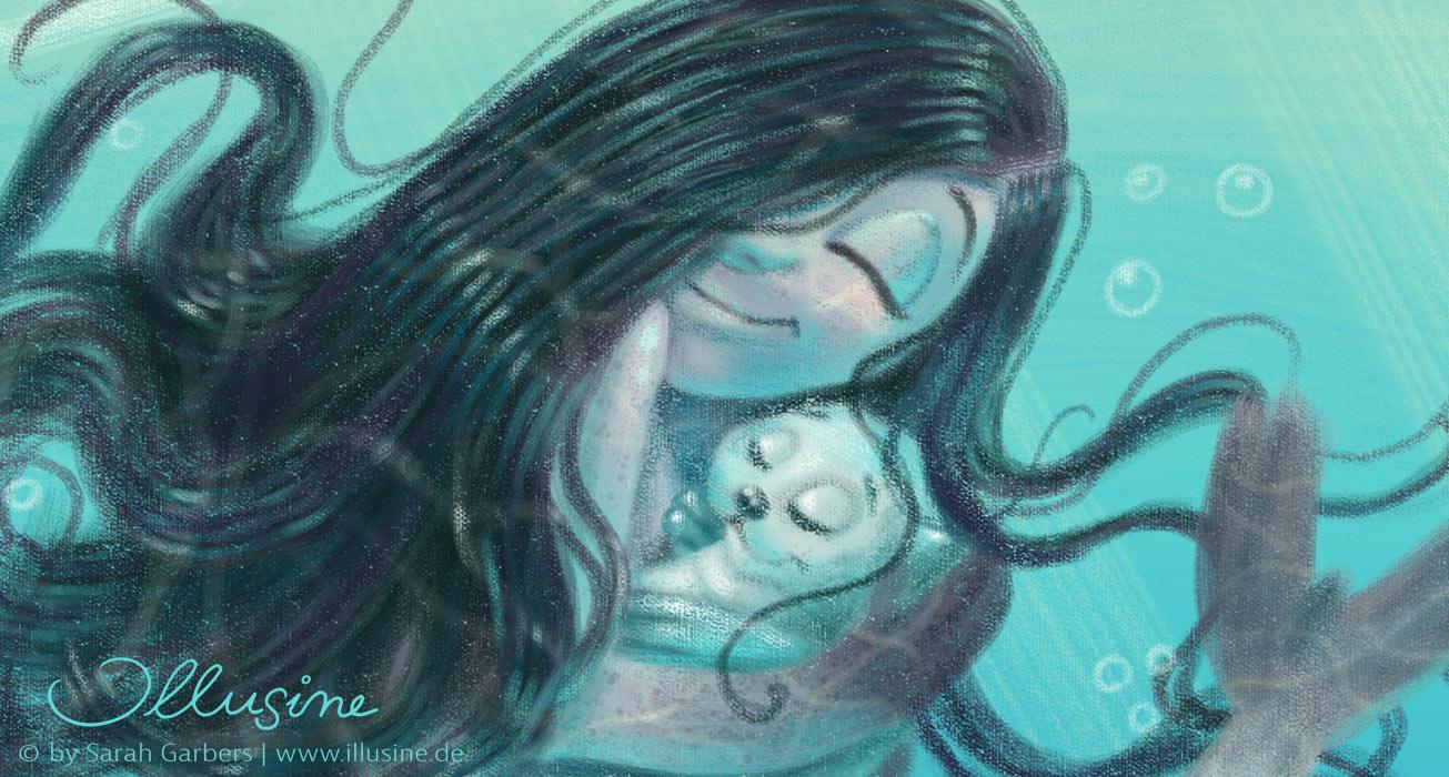 Ein Selkiemaedchen halb Seehund halb Maedchen mit schwarzem Haar, herzt ein Robbenbaby. Sie schwimmt mit zwei sie umkreisenden, fröhlichen Robben im Meer. Sonnenstrahlen durchwirken das Wasser. Oben ist die Wasseroberfläche zu sehen