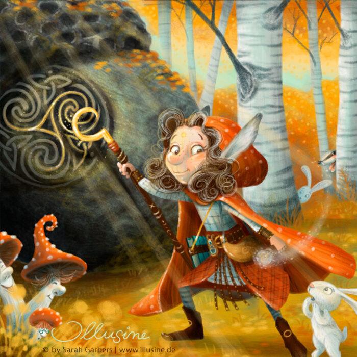 Druidin Birkenwald Herbst Fliegenpilze Hase
