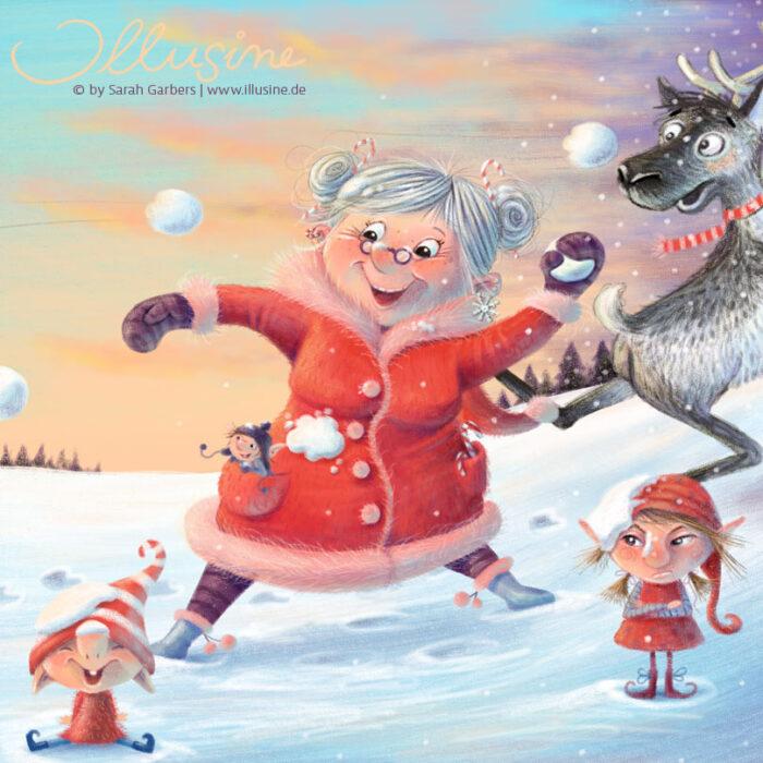 copyright sarah garbers, Weihnachtsfrau, schneeballschlacht, Wichtel, Rentier, Abendhimmel
