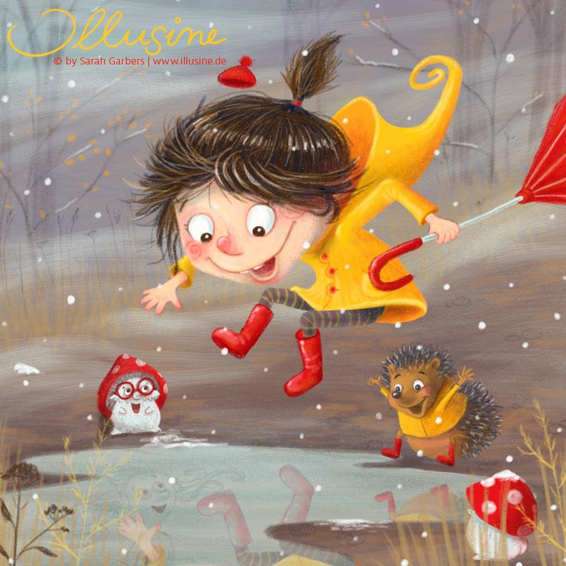 Herbst, Mädchen, gelber Regenmantel, rote Gummistiefel, Fliegenpilz, Pfütze, Igel, Freunde