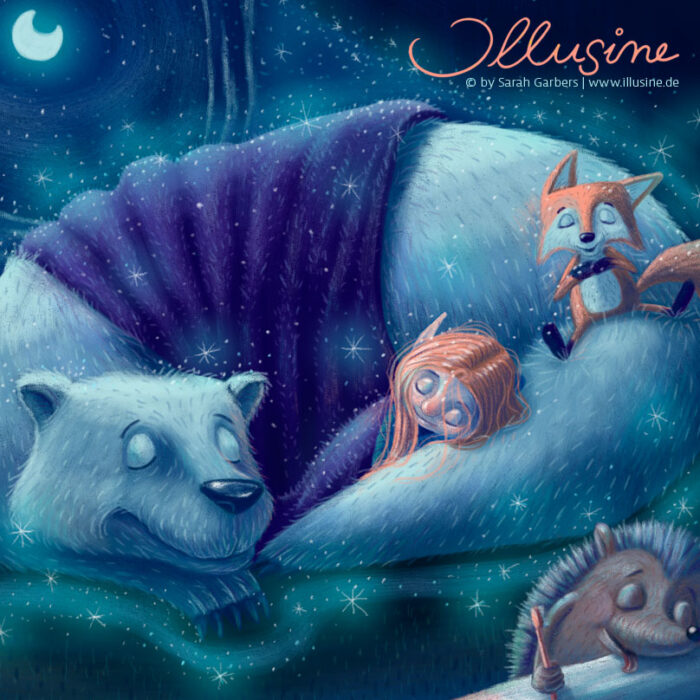 copyright sarah garbers, winterträume, eisbär, fuchs, igel, wichtel, mädchen, Mond, Höhle